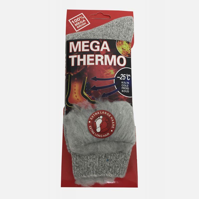 Grube skarpety męskie 100% MEGA Thermo szare C-6006