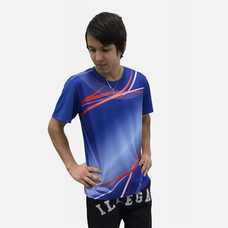 Koszulka Sportowa Oddychająca Niebieska 28026