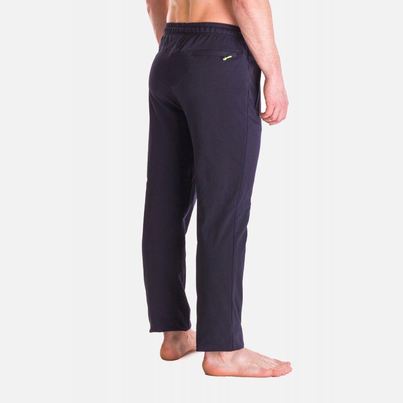 Spodnie Męskie Dresowe - Granatowo - Limonkowe 57355