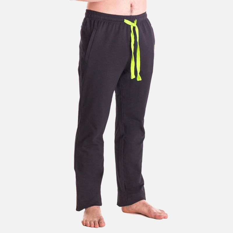 Spodnie Męskie Dresowe - Granatowo - Limonkowe 57358