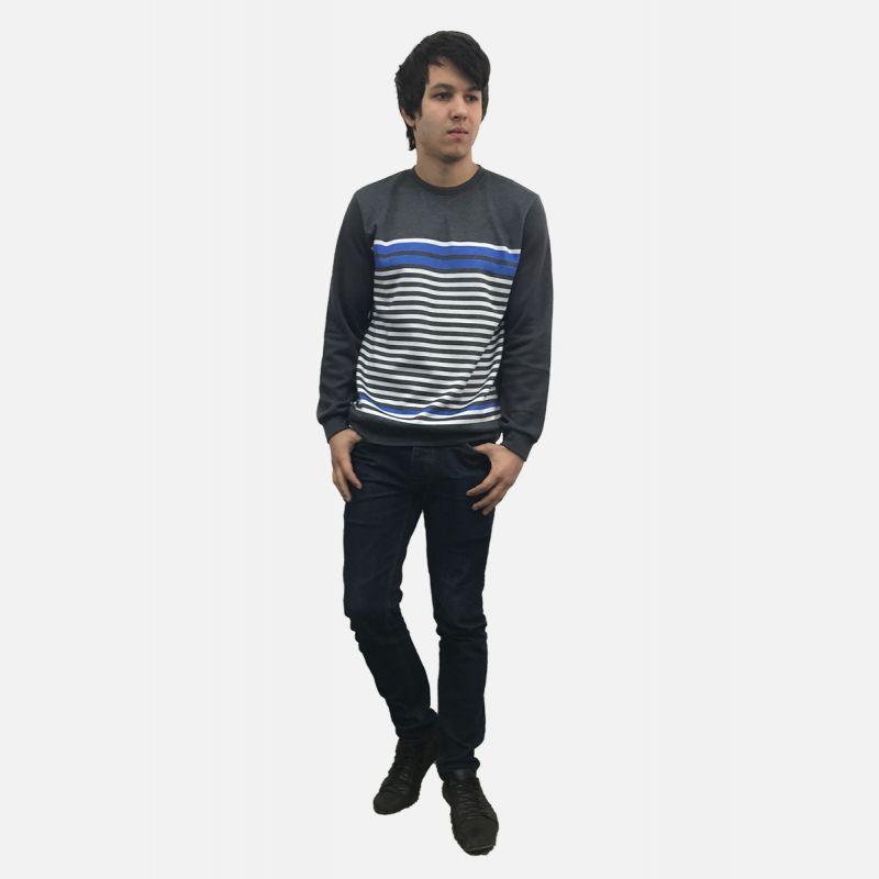 Bluza męska w paski grafitowo-niebieska 16935
