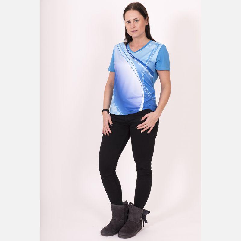 Koszulka Sportowa Oddychająca Niebieska 28030