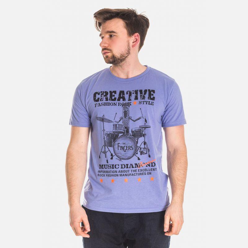 Koszulka Męska Bawełniana - Fioletowa 61039