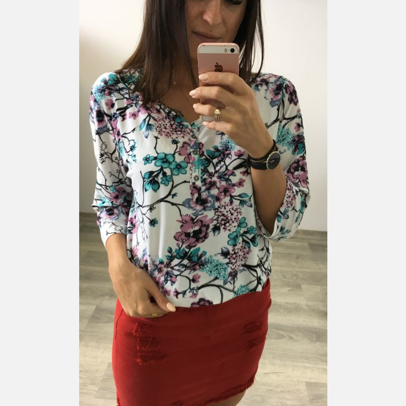 Bluzka Damska Benter - Kolorowe Kwiaty (61619)