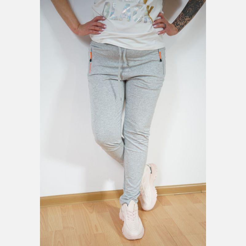 Sportowe spodnie dresowe damskie jasne szare 46898